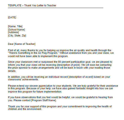 teacher thank you letters