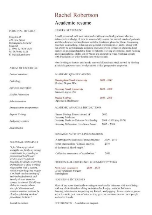 Academic cv templates word find word templates academic cv templates word 1 yelopaper Images