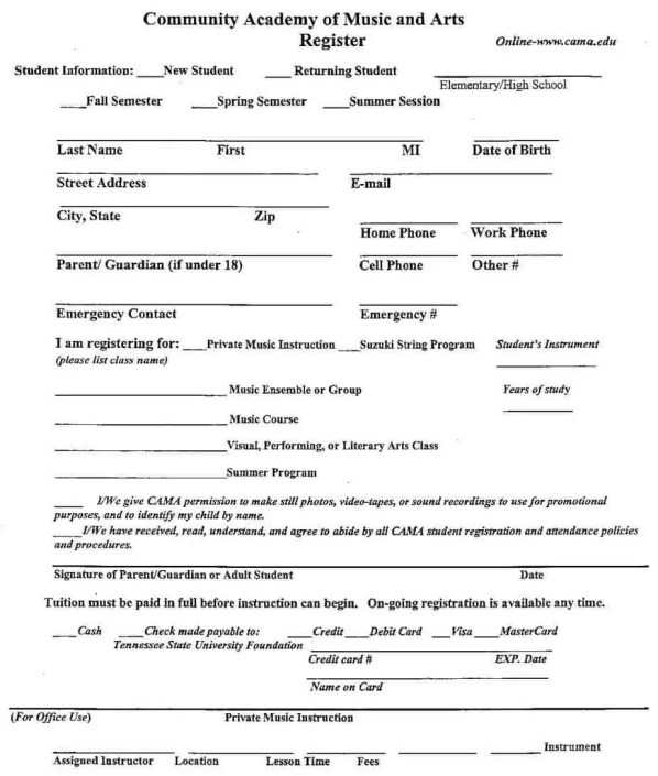 Academy registration form templates find word templates for Dance school registration form template free