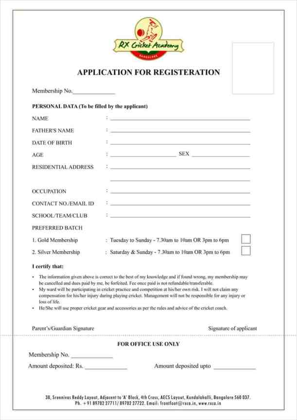 Academy Registration Form Template 5.