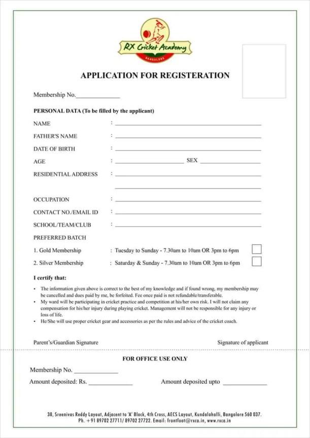 Academy Registration Form Template 5.