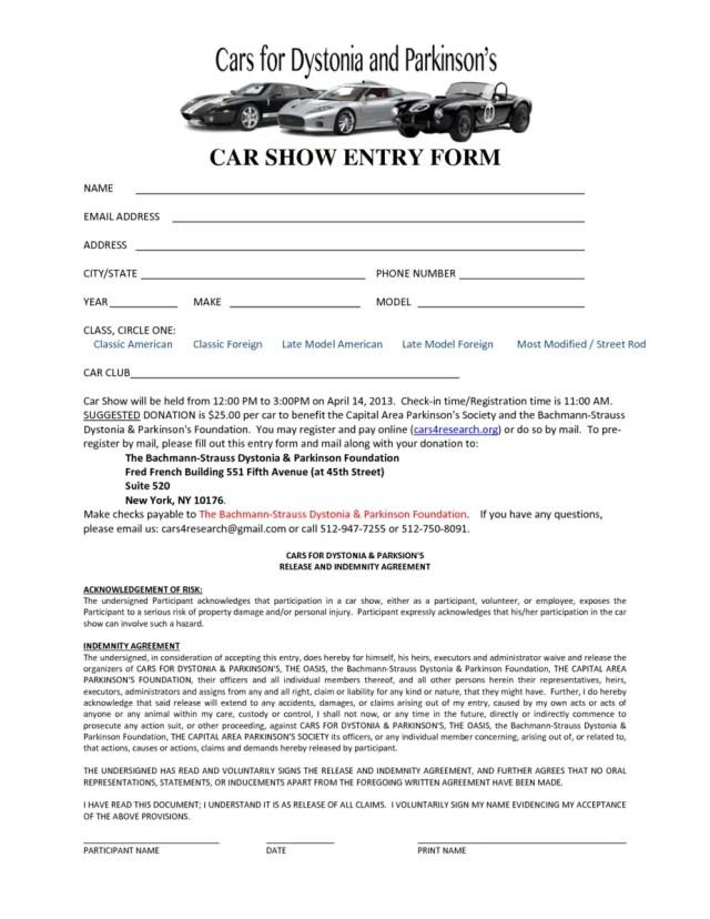 Car Show Registration Form Templates 3.