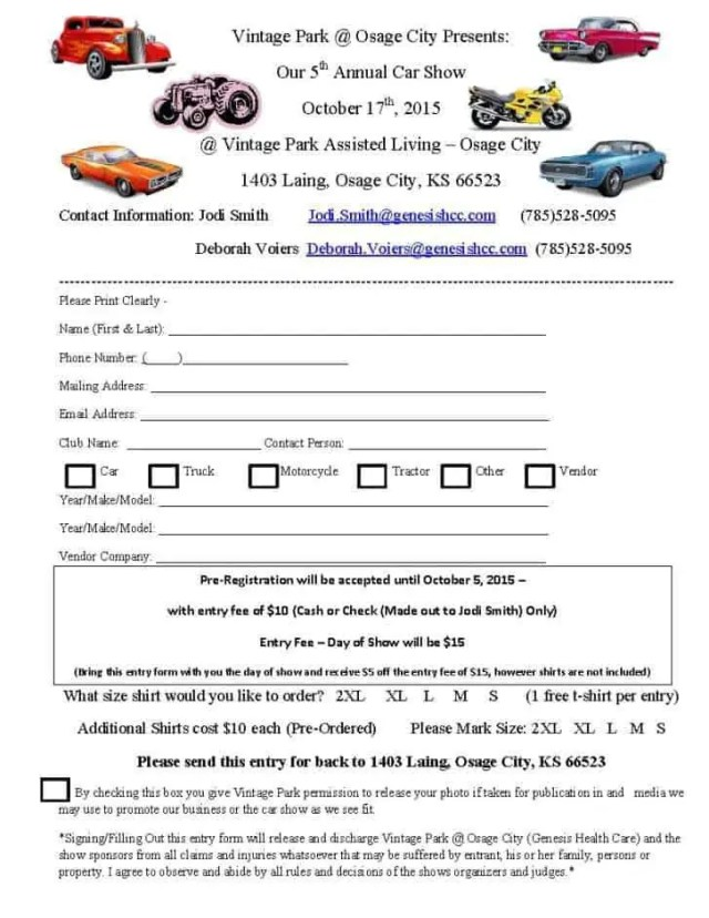 Car Show Registration Form Templates 5.