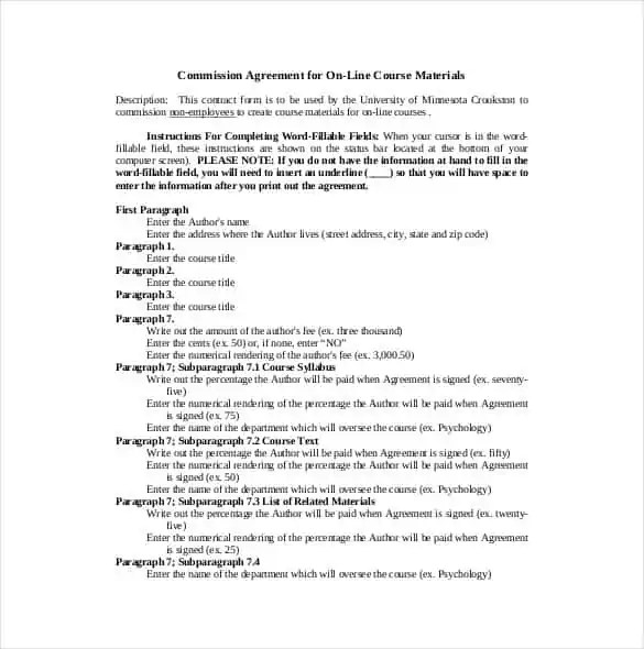 Commission agreement templates find word templates for Sales commission letter template