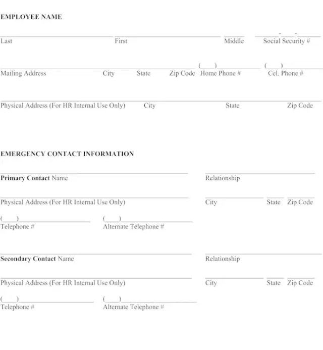emergency contact information form for employees