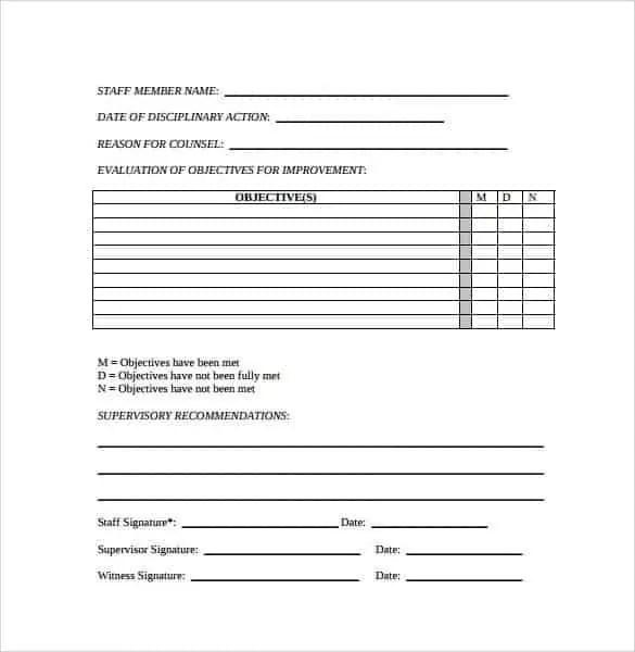 employee write up sheets