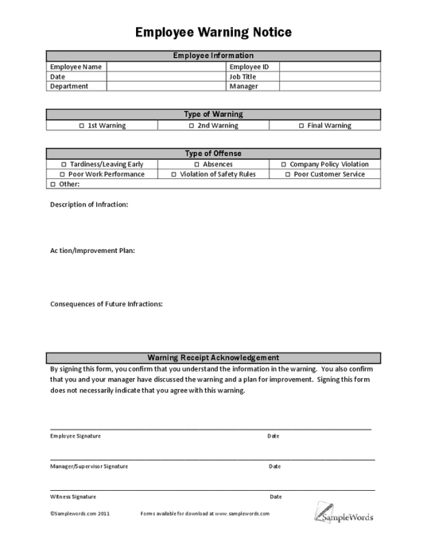 Employee Write Up Form 8.