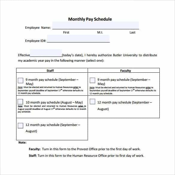 Payment Schedule Template 8.