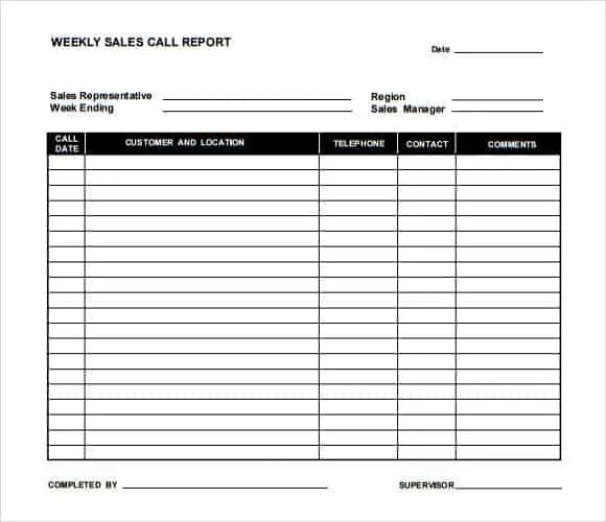 Sales Call Report Template 5.