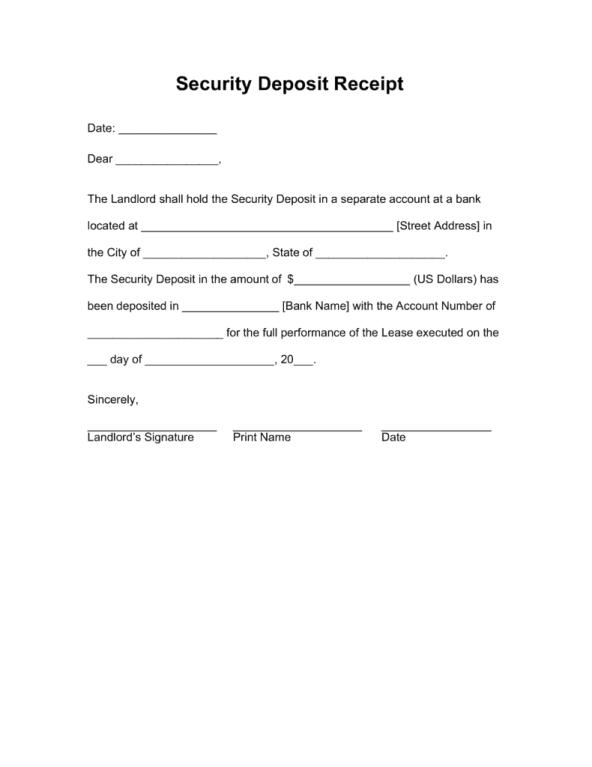 Security Deposit Receipt Template 4.