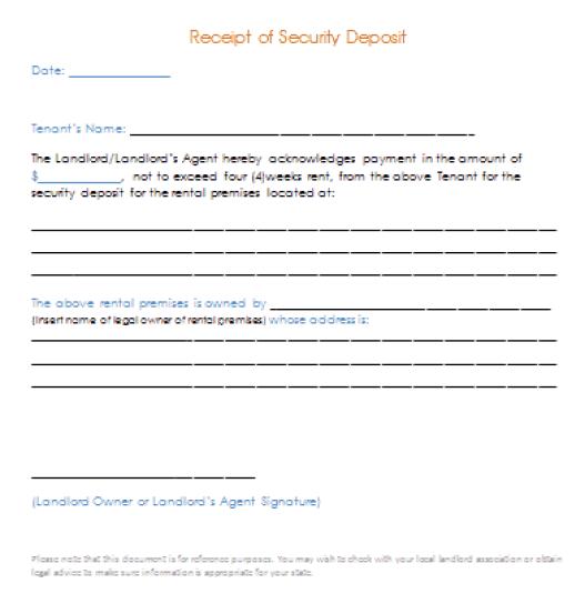 Security Deposit Receipt Template 6.