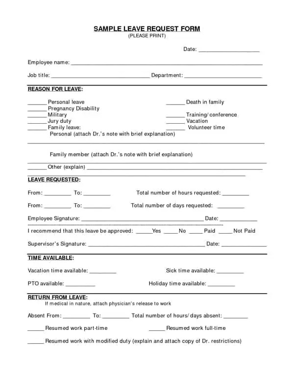 request for time off form template