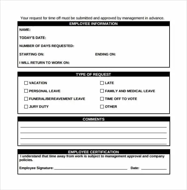 Time Off Request Form 6. ...