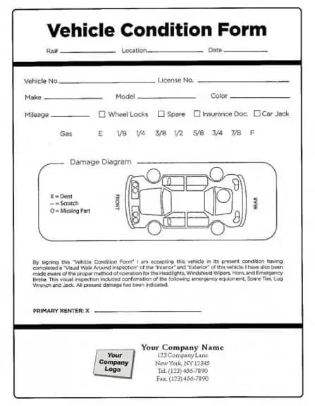 Vehicle Condition Report Template. form download. credit card ...