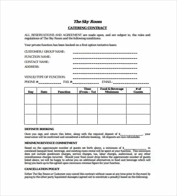 Catering Contract Template 5.  Event Coordinator Contract Template