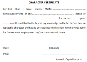 Character certificate format archives find word templates character certificate templates altavistaventures Gallery