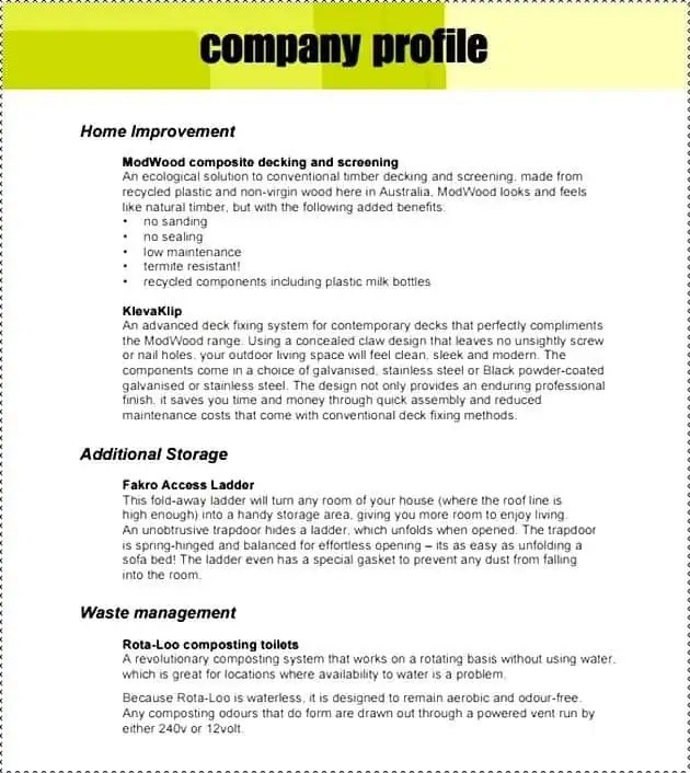 Company Profile Template Doc  Brief Company Profile Sample