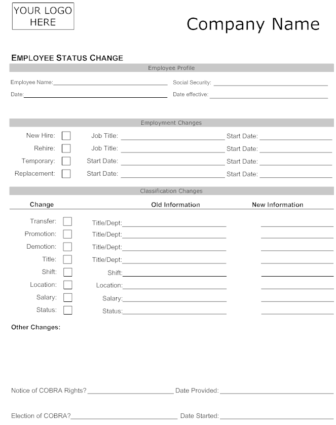 Employee Status Change Forms