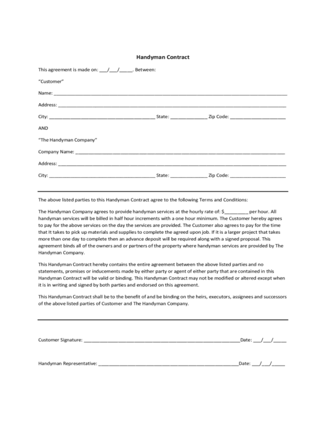 Handyman Contract Template 1