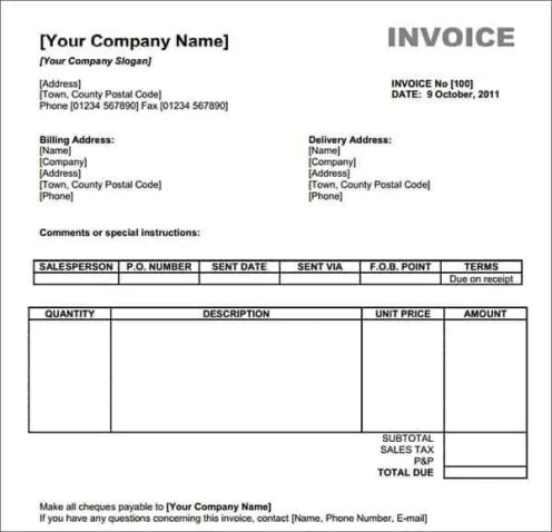 Excel Invoice Templates - Find Word Templates