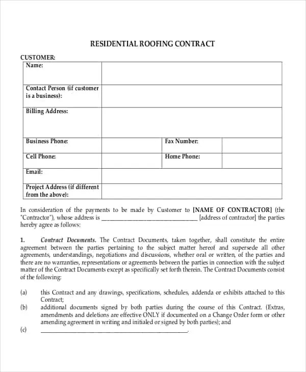Roofing Contract Templates