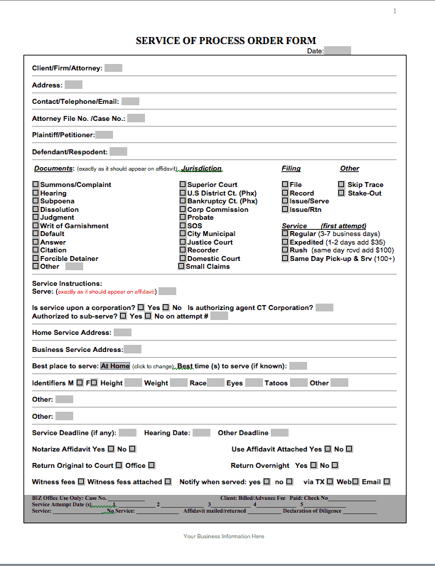 service call form template
