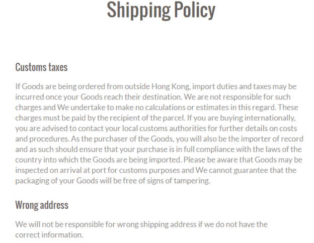shipping policy template 8.
