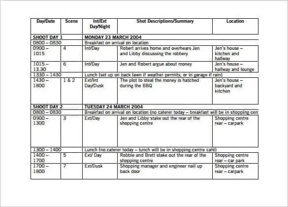 12 Shooting Schedule Templates Word Excel Pdf Word Excel