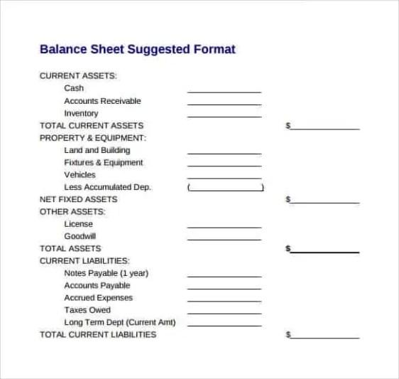 Balance Sheet Template 7.