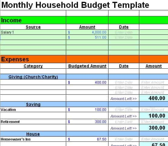 Template For Household Budget. family budget template household ...