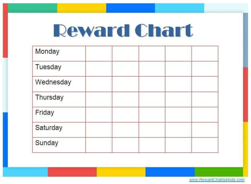 Sticker Chart Template Potty Training Reward Chart Free Templates – Blank Reward Chart
