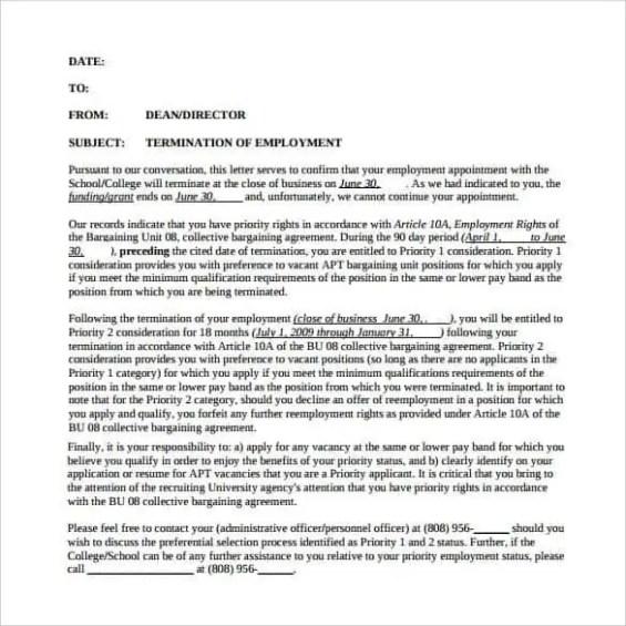 Termination Letter Format 5.