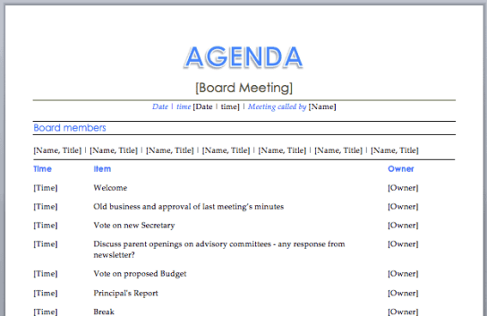 meeting agenda template 9.