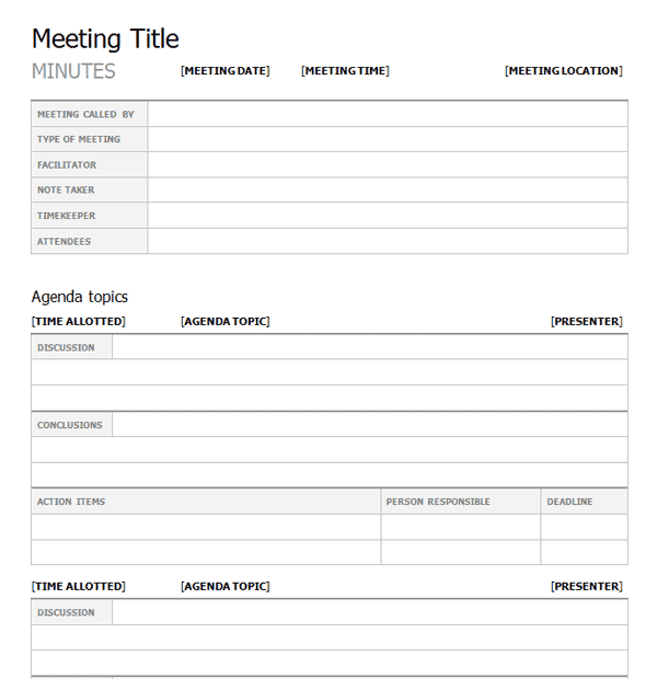 Meeting Minutes Templates - Find Word Templates