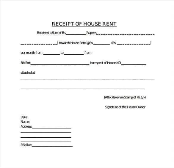 Rent Receipt Templates Find Word Templates – Home Rent Receipt Format