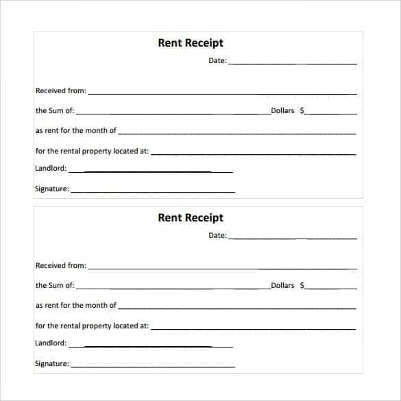 Rent Receipt Templates Word Excel Fomats
