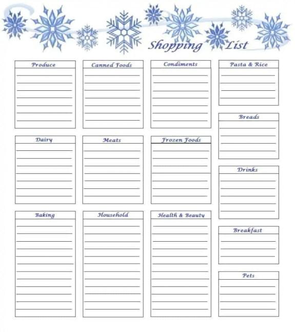 household shopping list template