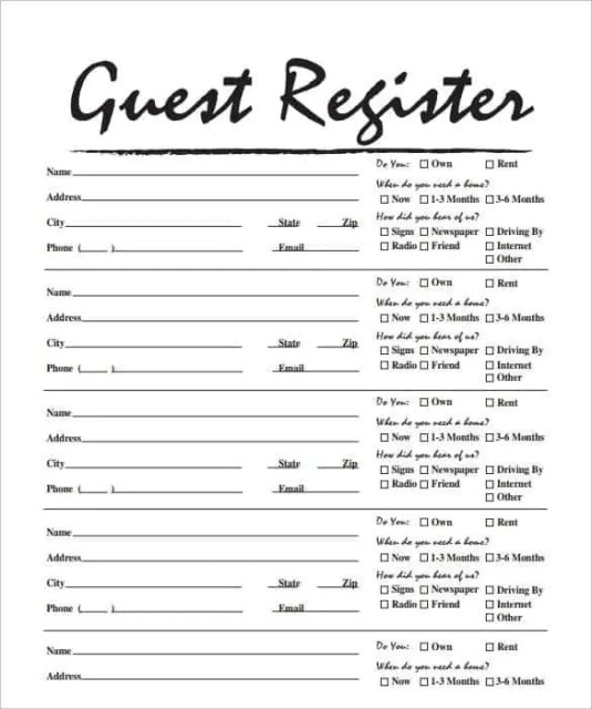sign in sheet template 6.