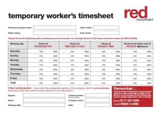 timesheet template 4.