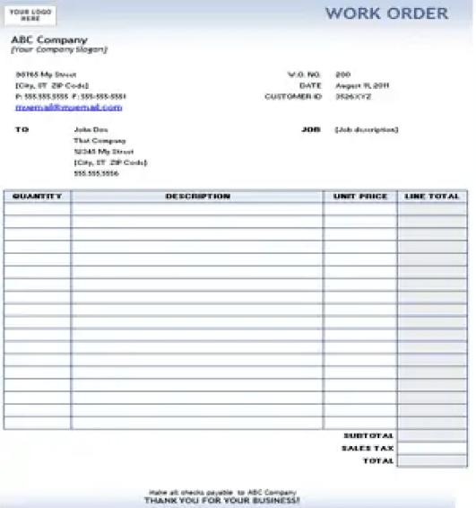 work order format 7.