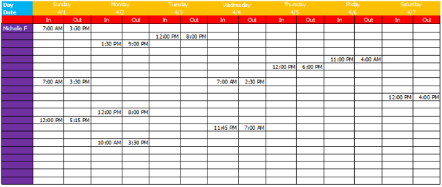 work schedule template 7.