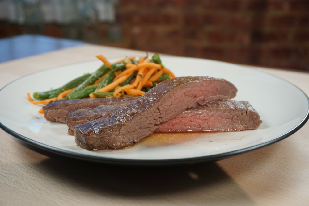 Miso Flank Steak With Garlic Green Beans And Sweet Potatoes