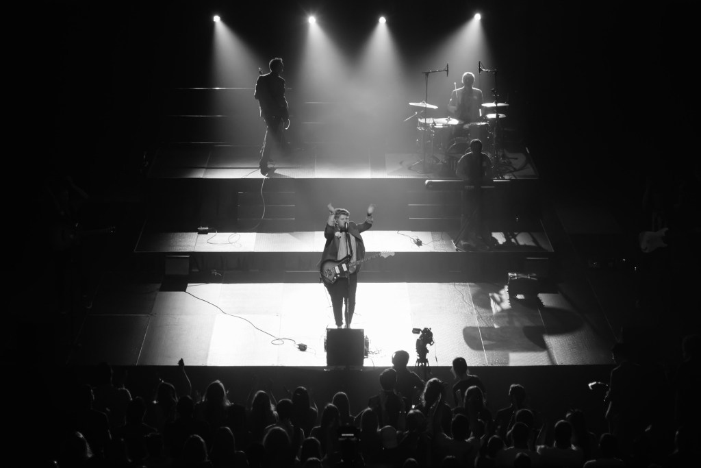 B&W Man on a stage