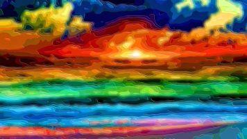 Layer Art Landscape Ocean Sunset