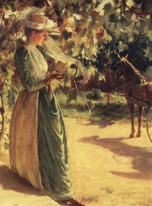 Woman with a horse, Charles Courtney Curran