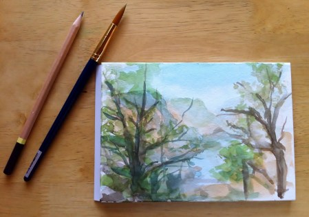 Lake Tulloch Watercolor Painting