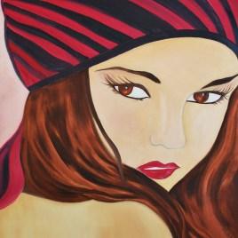 """Absi Grace, """"Portrait de femme au beret"""""""