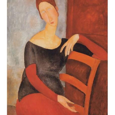 Modigliani_15_Portrait_of_Jeanne_on_red_chair