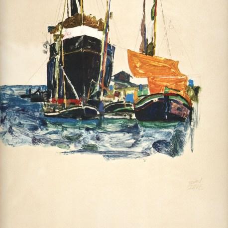 Schiele_26_Boats_at_Trieste