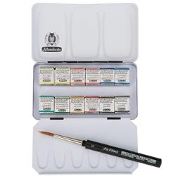 Schmincke Watercolor Set Pocket Set Of 12 Half Pans In Compact Metal Travel Box